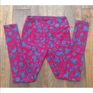 LuLaRoe Leggings OS One Size Red Teal Paisley